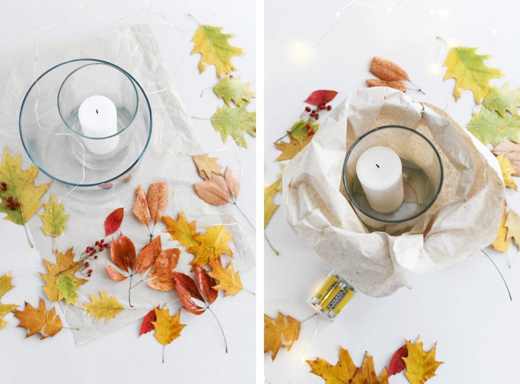 DIY: Schnelles Windlicht mit Herbstblättern basteln