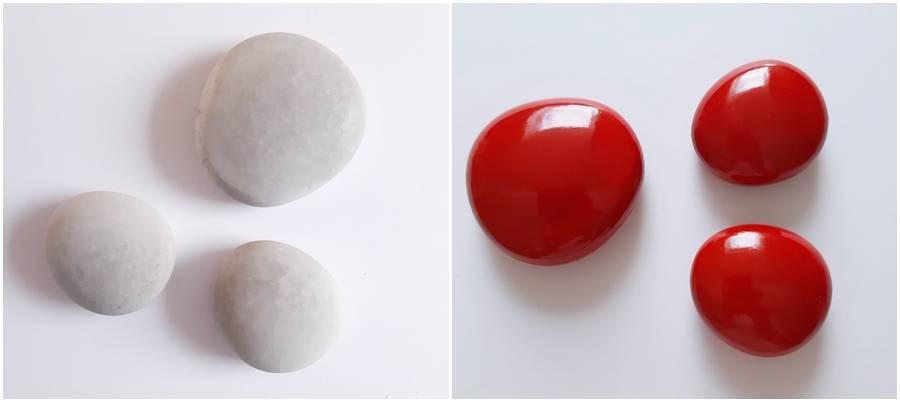 Steine aus Beton in grau und rot